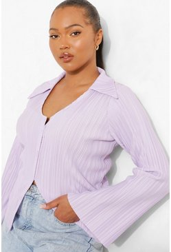 Lilac purple Plus Plisse Flare Sleeve Shirt