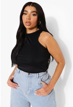 Black Plus Smoothing Fitted Racer Crop