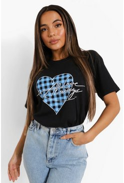 Black Petite Gingham Heart Slogan Print T-shirt