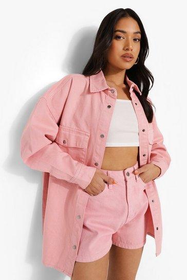 Blush pink Petite Basic Mom Short