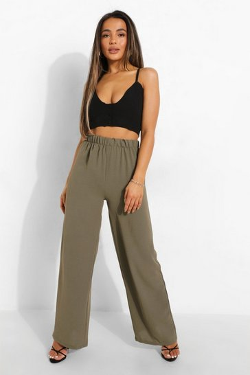 Khaki Petite Linen Look Wide Leg Trousers