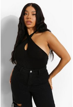 Black Plus Halterneck Bodysuit