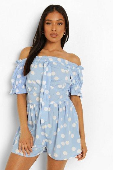 Blue Petite Spot Print Woven Bardot Playsuit