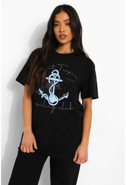 Petite St Tropez Anchor Slogan T-shirt, Black Чёрный