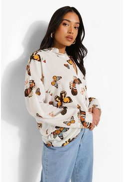 White Petite Butterfly Print Oversized Shirt