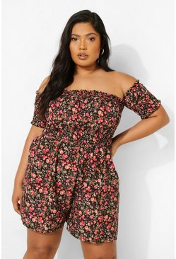 Black Plus Floral Bardot Jumpsuit