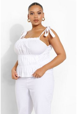 White Plus Cotton Tie Strap Ruched Crop Top