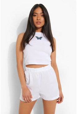 White Petite Basic Denim Flippy Short