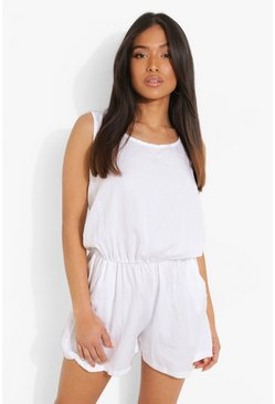 Petite Basic Denim Playsuit, White blanco