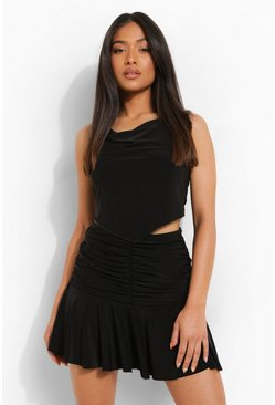 Black Petite Ruched Front Mini Skirt