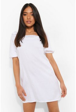Petite Puff Sleeve Denim Mini Dress, White bianco
