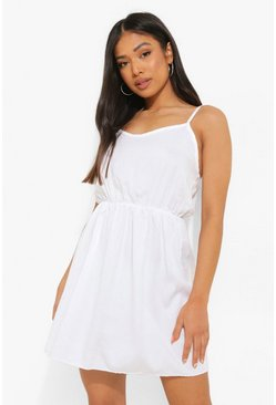 Petite Basic Denim Cami Dress, White bianco