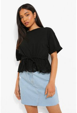 Black Petite Broderie Gathered Waist T-shirt