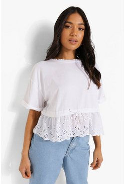 White Petite Broderie Gathered Waist T-Shirt