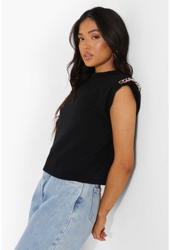 Black Petite Chain Detail Shoulder Pad T-shirt