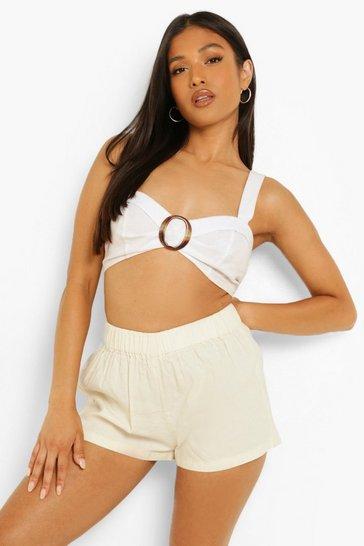 Ecru white Petite Chambray Button Front Floaty Shorts