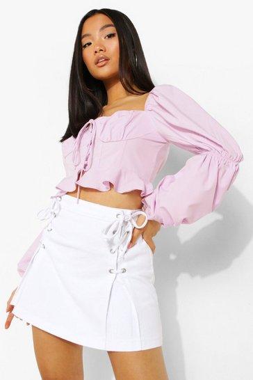 White Petite  Lace Up Detail Denim Mini Skirt