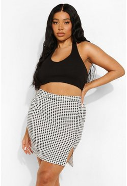 Black Plus Gingham Print Front Split Mini Skirt