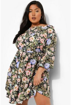 Black Plus Floral Bardot Tie Waist Dress