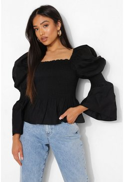 Black Petite Square Neck Puff Sleeve Shirred Blouse