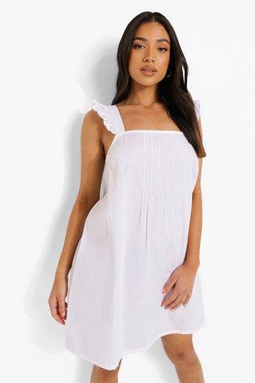 White Petite Ruffle Shoulder Woven Shift Dress