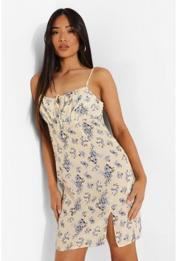 Ivory white Petite Floral Ruched Cami Dress