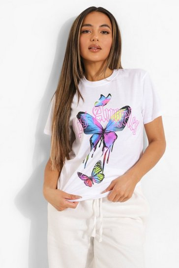 White Petite Butterfly Los Angeles Slogan T-shirt