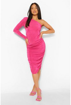 Hot pink pink Petite Texture Slinky One Shoulder Midi Dress