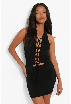 Black Petite Textured Slinky Lace Up Mini Dress