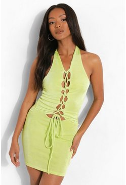 Chartreuse yellow Petite Textured Slinky Lace Up Mini Dress
