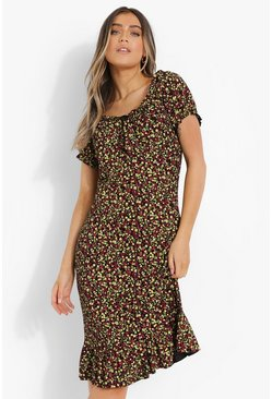 Red Plus Floral Print Bardot Midi Dress