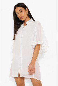 White Petite Woven Ruffle Angel Sleeve Shirt Dress