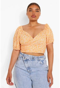 Orange Plus Puff Sleeve Wrap Top