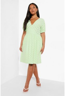 Sage Plus Jersey Broderie Wrap Skater Dress