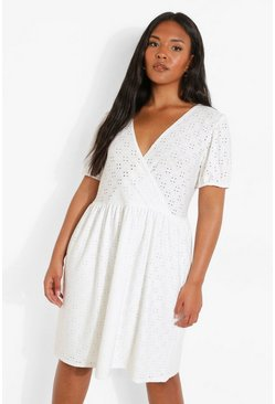 White Plus Jersey Broderie Wrap Skater Dress