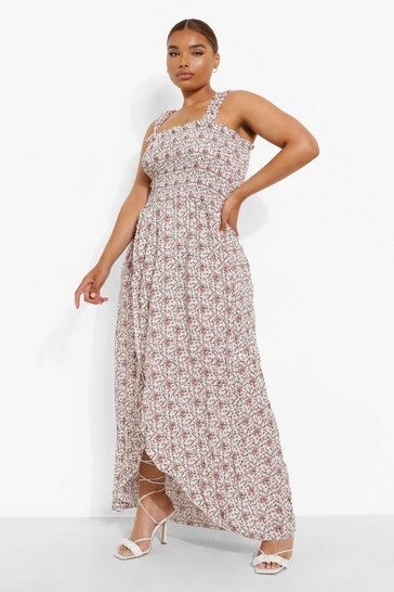 Ivory white Plus Ditsy Floral Shirred Maxi Dress