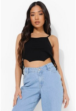 Black Petite Ruched Side Curved Hem Crop Top