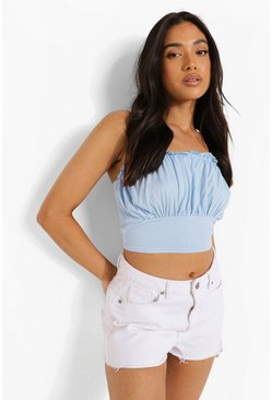 Sky blue Petite Ruched Front Ruffle Edge Crop Top