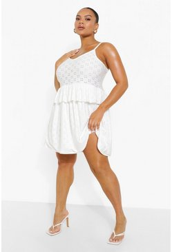White Plus Jersey Broderie Strappy Smock Dress