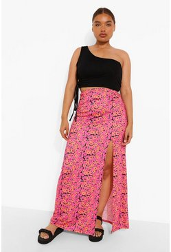 Pink Plus Floral Split Maxi Skirt