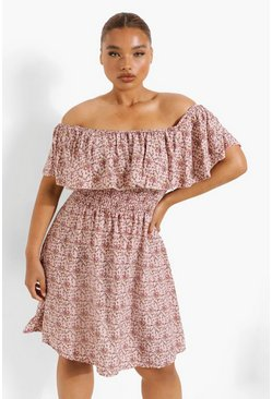 Blush pink Plus Ditsy Floral Bardot Mini Dress