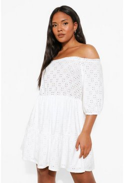 White Plus Broderie Off Shoulder Skater Dress