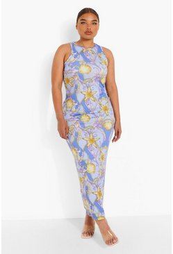 Blue Plus Shell Chain Print Maxi Dress