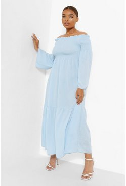 Blue Plus Shirred Bardot Maxi Dress