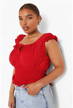 Red Plus Shirred Tie Front Bardot Crop Top