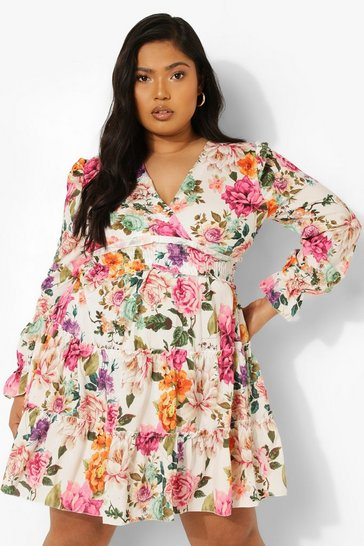 Multi Plus Floral Tiered Long Sleeve Dress