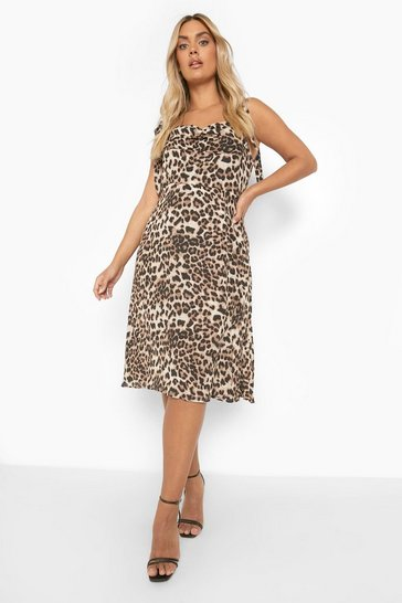 Brown Plus Leopard Corset Tie Detail Midi Dress
