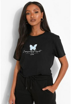 Black Petite Butterfly Slogan Crop T-shirt