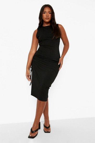 Black Plus Recycled Rib Ruched Side Midi Dress