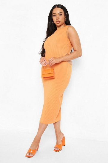 Orange Plus Recycled Rib Cut Out Midi Dress